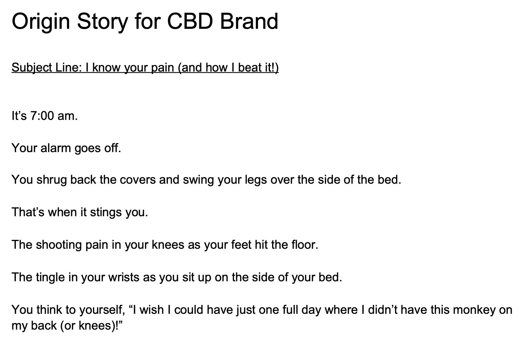 Origin Story for CBD Brand