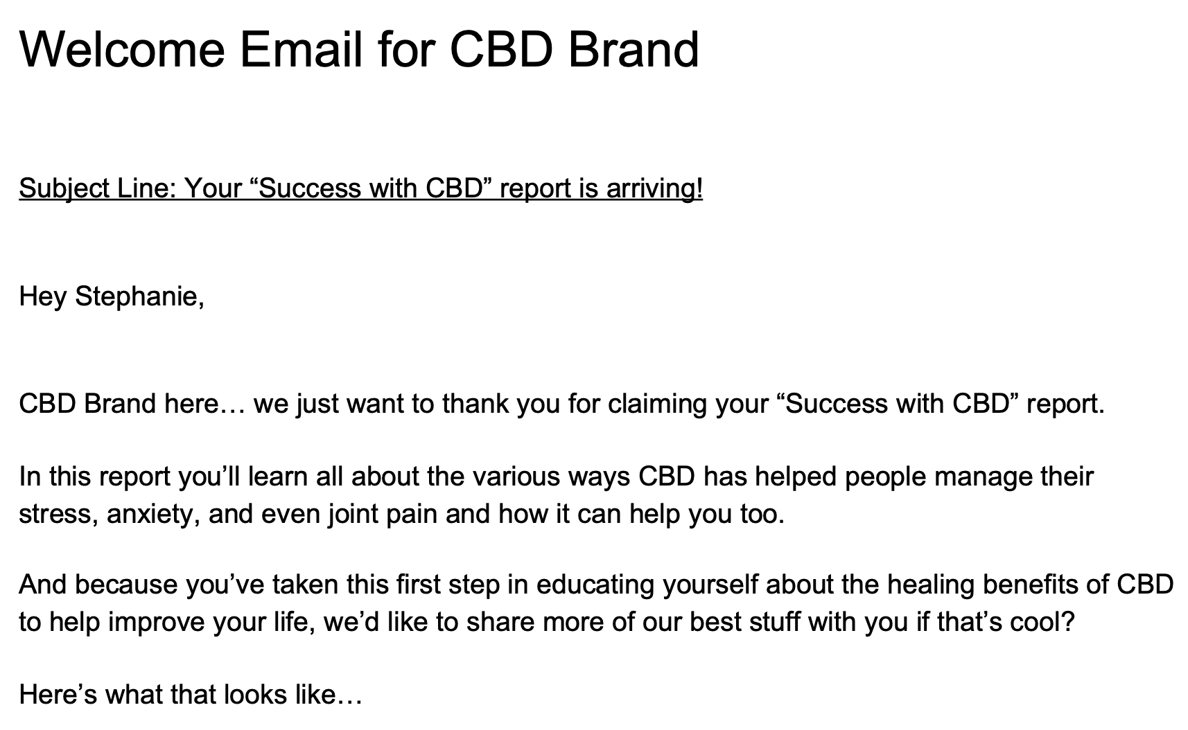 Welcome email for CBD brand